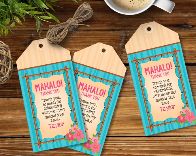 Luau Favor Tag - Thank You Tag - EDITABLE - personalize text in Adobe Reader - Instant Download DIY Printable PDF Kit