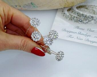 Silver Rhinestone Cluster Hair Pin 5 piece Bobby Pins Set ~ Brooch Bouquet Supplies