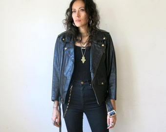 Motorcycle Jacket / Black Leather Jacket / Rocker Jacket Sz S / M