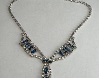 Rhinestone Drop Necklace Aurora Borealis & Sapphire Rhinestones Vintage Bib