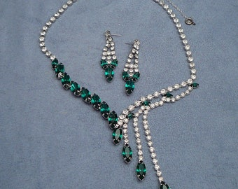 Hobe Asymmetrical Rhinestone Necklace & Earrings Set Emerald Green Dangles Fringe Vintage Parure