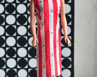 Barbie nautical print red and white striped dress with tiny anchors and stars, vintage 60s handmade