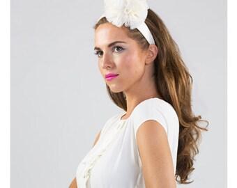 Irina - White pom pom headband