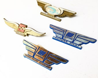 Vintage Airline Wings — Set of 4 (1980/90s)