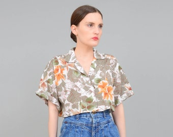Vintage 80s Crop Top - Hawaiian Print Shirt - Tropical Floral Print Top - Button Up Oversize Shirt - 1980s Cropped Shirt - Small Medium S M