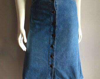 Vintage Women's 70's h.i.s. Denim Skirt, A Line, Knee Length (S)