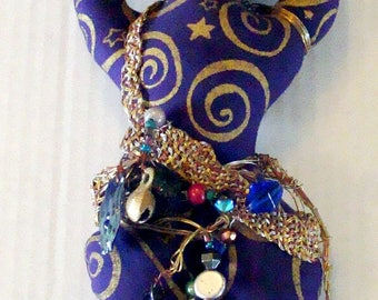 Purple and Gold Goddess Doll with Silver Copper Brass Braided Trim