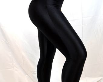 Great 80s Gilda Marx Flexatard Basic Black Spandex  Shiny Leggings