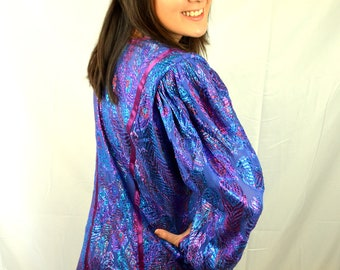 Vintage 80s Iridescent Rainbow Metallic Oversized Jacket Blazer