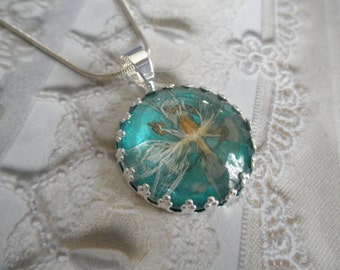 Star Of Bethlehem Blossom Atop Glowing Blue-Green Ocean Victorian Crown Pendant-Gifts Under 30-Symbol of Hope, Continued Happiness & Love