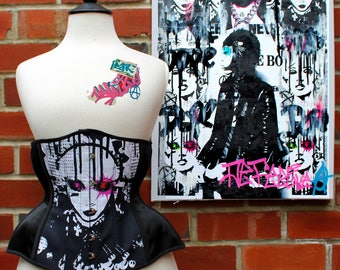 Sample READY TO SHIP - A Beautiful Disaster 22 inch Underbust Steel Boned Art Punk Corset