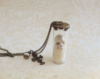 Carved skull jar vial necklace -Skull necklace- Gothic steampunk jewelry - glass tube necklace - curiosities -reliquary -victorian