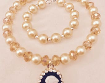 American Girl Sized Cameo Choker Necklace and Bracelet with White pearls and Gold Beads