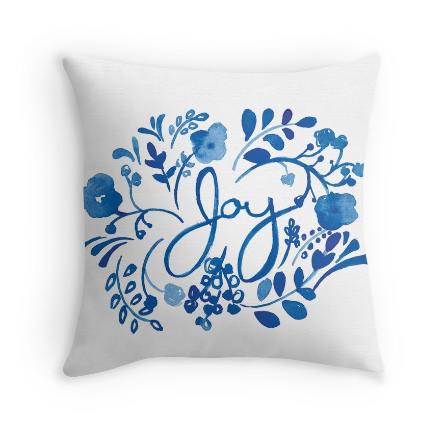 Joy Throw Pillow Watercolor Accent Pillow Illustration