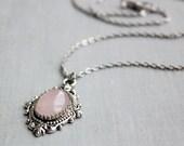 Rose Quartz Necklace. Gemstone Necklace.