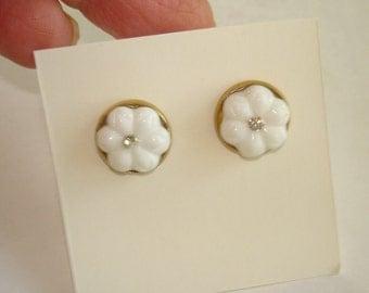 Jewelry  White Flower Rhinestone  Earrings