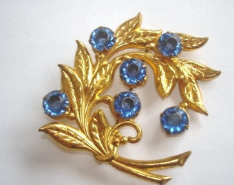 Rhinestone Blue  Flower Brooch