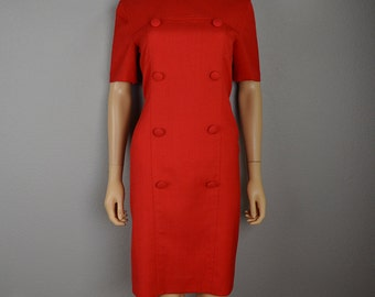 90s Work Dress Bright Red Shift Dress With Button Detail Short Sleeve 90s Clothing Epsteam