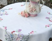RESERVED - Vintage Table Linens, Tablecloth, Embroidered Pansies, Table Topper, French Country, Cottage Charm, by mailordervintage on etsy