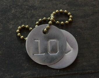 Vintage metal tag, number 10, vintage tag, aluminum number tag, sheep, cow, locker, basket tag