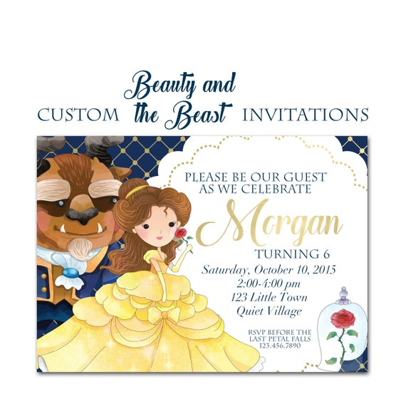 Beauty and the beast birthday party invitation custom party invite il570xn filmwisefo