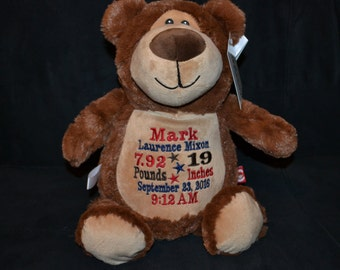 Personalized stuffed animal - Brown BEAR - Birth Announcement - Baby Keepsake - Plush - Cubbie - Embroidered