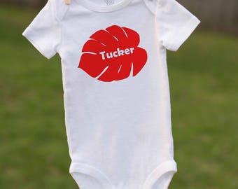 Baby name gift etsy palm leaf hawaiian bodysuit hawaiian bodysuit hawaiian baby gift new baby gift negle Choice Image