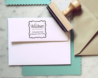Custom Address Stamp 107, Decorative Return Address Stamp, Border Frame Stamp, Gift for Mom, Cute Mailing Stamp, Self Inking Stamp