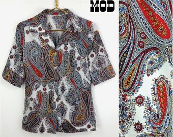 Vintage 70s White, Blue/Black & Red Paisley Boho Hippie Blouse Lightweight Shirt Top!