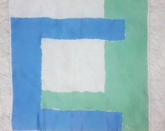 Cool Vintage Vera Neumann 60s Pastel Green, Blue and White Abstract Op Art Pattern Square Scarf