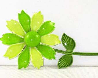 Vintage Mod Green Enameled Flower Power Floral Brooch Pin (B-1-1)