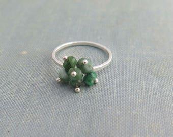Emerald ring sterling silver, May gemstone ring, Raw emerald ring, May birthstone ring, Natural emerald ring, Taurus jewelry,Raw stone ring,