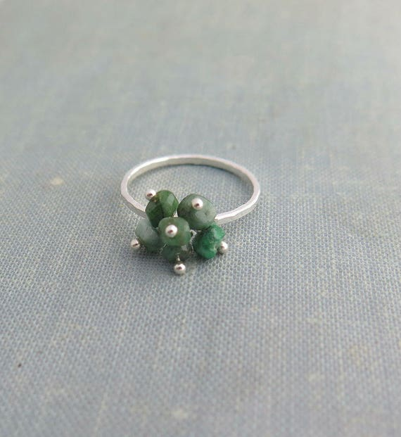 Sterling silver emerald ring, May gemstone ring, Raw emerald ring, May birthstone ring, Natural emerald ring, Taurus jewelry,Raw stone ring,
