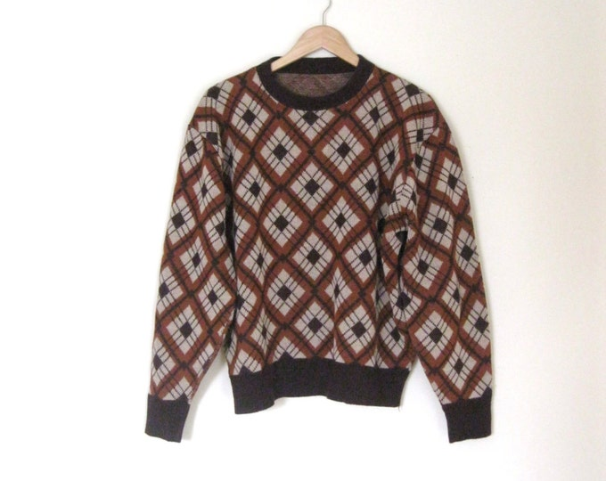 Vintage 60s Argyle Mens sweater / Hipster argyle pullover Unisex 60s sweater