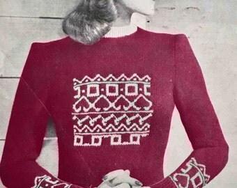 1940's vintage knitting pattern - Parisian jumper and cap