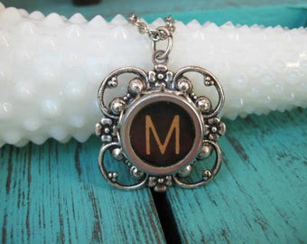 Initial Pendant - Typewriter Key Necklace - Letter M