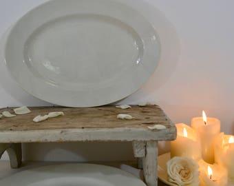 19th Century Large Oval Porcelain Platter(35cm x 24.5cm) -  Opaque Luneville 1875-1900 White Ironstone Platter -French Porcelain