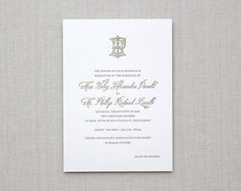 Charleston Letterpress Wedding Invitation - Monogram, Calligraphy,Traditional, Elegant, Simple, Classic, Script, Custom, Formal, Destination