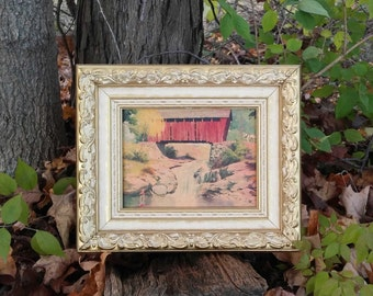 FW Woolworth's Co. Covered Bridge Picture in Wood Gesso Style Frame with Original Price Tag