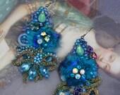 Blue fantasy earrings- bold lightweight romantic bohemian earrings, hand beaded