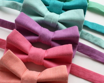 Little and Big Guy BOW TIE - Spring Easter Solids - (Newborn-Adult) - Baby Boy Toddler Teen Man- Coral Pink Purple Aqua Mint Teal