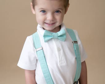 Little and Big Guy Bow tie and Suspender SET - Solid Aqua -(All Sizes Newborn-Adult)