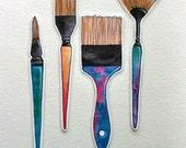 Illustrated Paintbrush Bookmark set, Laminated