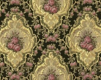 antique french wallpaper pink roses medallion illustration digital download