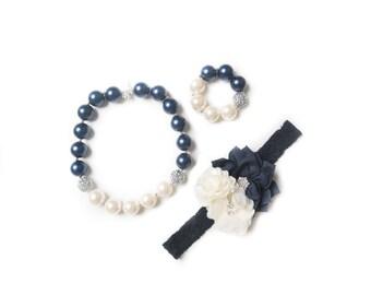 Navy necklace, navy bubblegum necklace, little girl necklace, chunky bead necklace, bubble gum necklace, toddler necklace, baby necklace