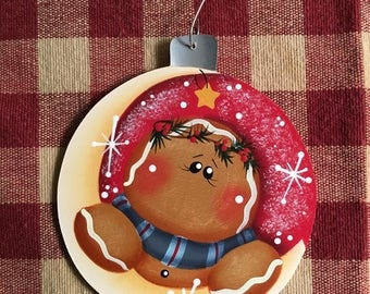 Adorable Over the Moon Gingerbread Hand  Painted Wood Christmas Ornament