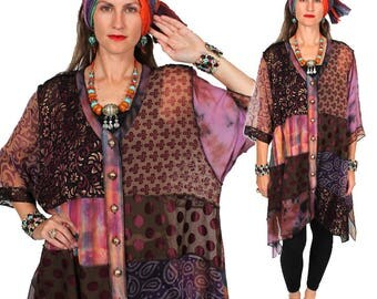 SunHeart Goddess Boho Top Jacket Dress Turning Some Heads Nothing-Matches HIppie Chic Resort Wear one size Sml Med Large xl 1x 2x