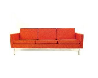 Vintage Steelcase Sofa In Orange Tweed