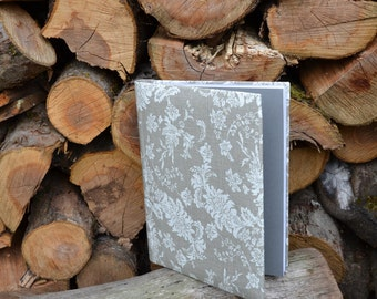 Writing Journal /  Handmade Sketchbook / Handmade Journal / Unique Journal /  Notebook /  Diary /  A5. 8 x 6 inch Grey linen and lace