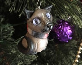 Siamese Cat Ornament Handmade Christmas Keepsake, Fashionable Seal Point Siamese in red, white, black scarf, clay cat figurine